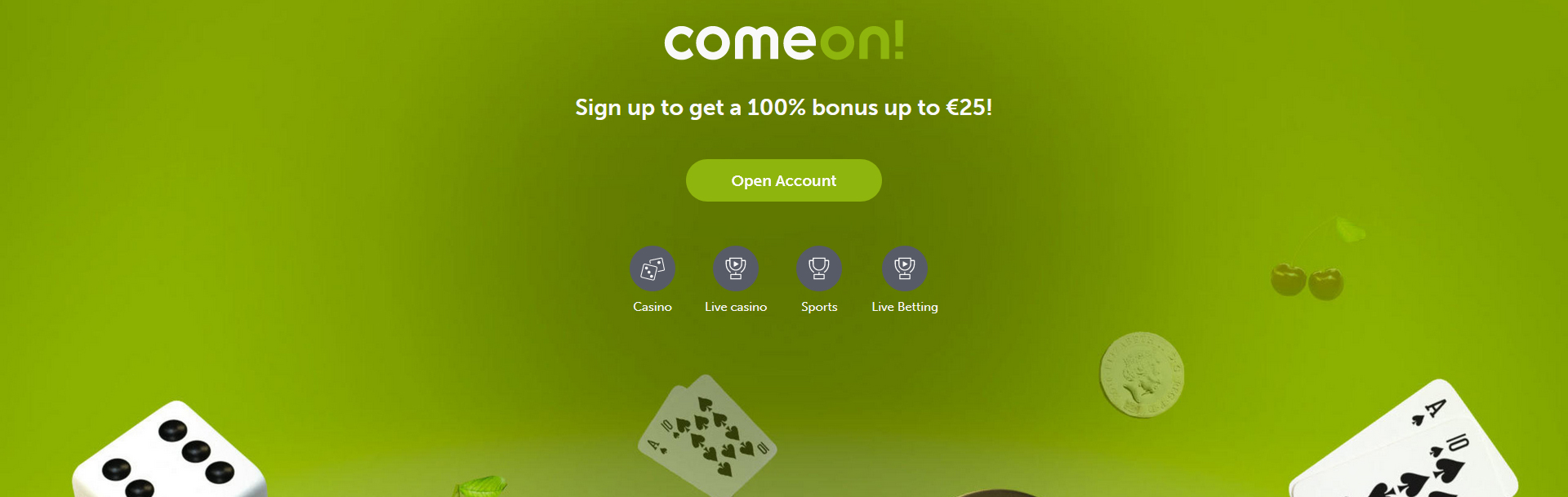 Screenshot ComeOn casino.